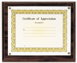 certificate of appreciation plaque customized for any accomplishment